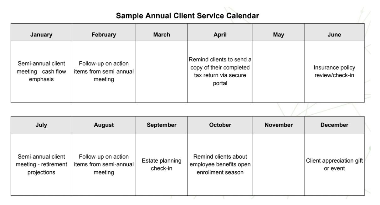 Sample Annual Client Service Calendar
