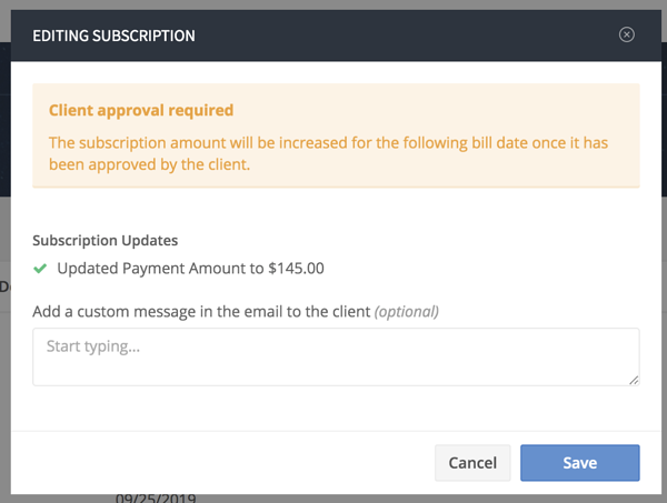 editing amount on a subscription