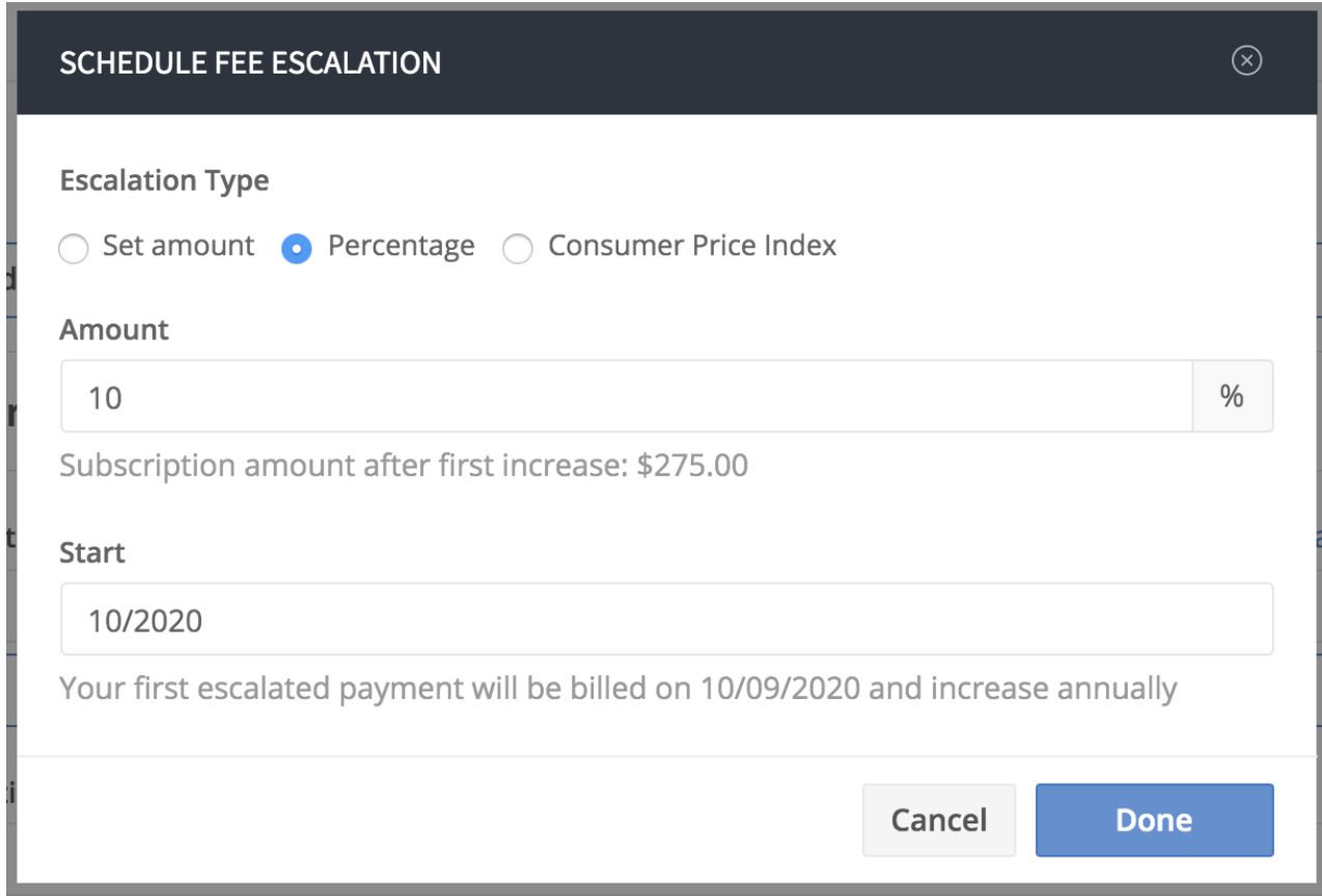 Fee escalation 1
