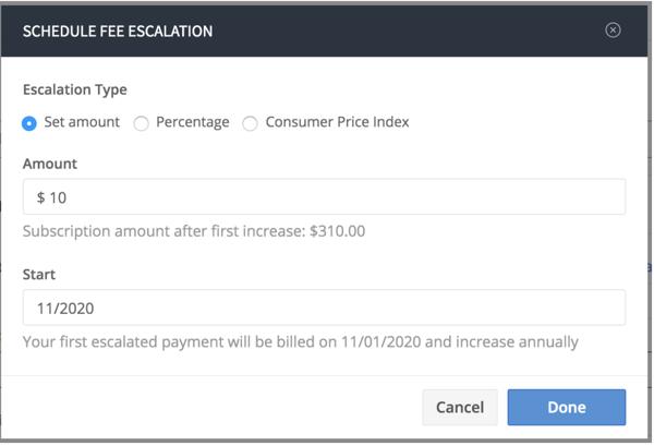 fee escalation