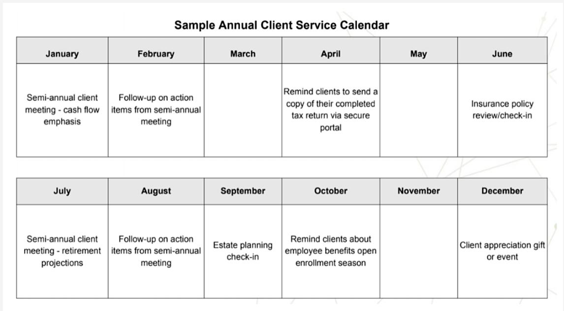 sample client service calendar